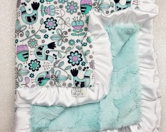 READY TO SHIP Minky blanket, baby girl blanket, baby gift, Aqua and lavender, mint Blanket, bird Blanket, owl blanket, aqua and purple