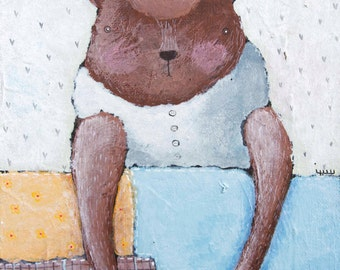 Instant Art Download / Printable art / Wall art / Bear Under the Quilt