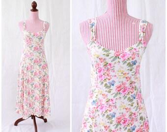 Vintage 1990s Dress / 90s Sundress / Roses / Crepe / French Style / Sweetheart