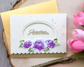 Grandma Birthday Card, Handmade Card, Mothers Day Card, For Grandma, Birthday Cards, Grandmother Birthday Card, Moms Day Card, Greeting Card