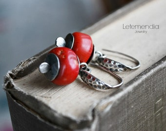 Red Coral Earrings Artisan Modern Small Nuggets Sterling Silver Jewelry by Letemendia