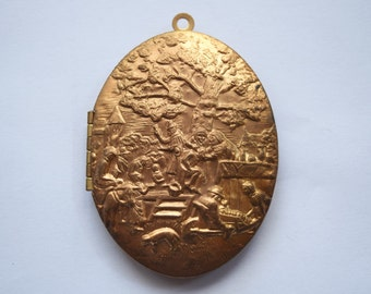 Brass Medieval Scene Large Locket
