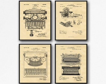 Vintage Typewriter Patent Posters Set of 4 Typewriter Prints Typewriter Art Gift for Writer Gift Office Wall Art Office Decor WB137TYPE