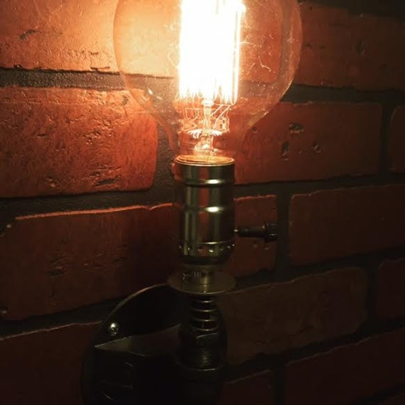 Steampunk Single Wall Sconce Light With Springs Bathroom
