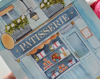 French Patisserie Art Print (Patisserie Print - French Bakery Print - French Decor - Paris Print - Paris Watercolor)