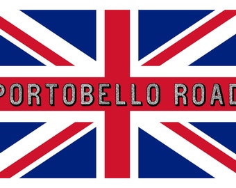 Union Jack and Portobello Road Custom Designed Linen & Cotton Tea Towel. Practical and Classic!