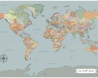 Sale push pin travel map world travels map map art world sale 1st anniversary gift push pin world map map art world map gumiabroncs Image collections