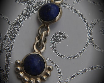 Genuine Solid Sterling Silver 2 Cabochon Lapis Pendant