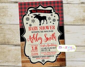 Lumber Jack Baby Shower Invitation Boy Plaid Winter Invitation Snowflakes Baby Shower Bear Moose Buffalo Rustic Woodland Flannel Shower 6444