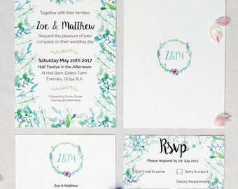 Botanical themed, blue and green Watercolour Wedding Invitation with matching RSVP - Sample