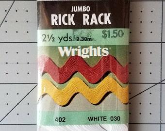 Vintage Wrights Jumbo Rick Rack Package - 2 1/2 yards - White