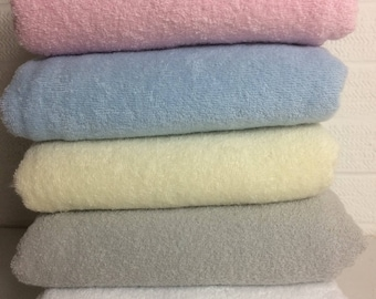 Terry Towelling, Five colours , white, pink, blue, cream, grey Terry Cloth Fabric, Cotton Terry, Bibs, Baby hooded towels, Nursery Gifts