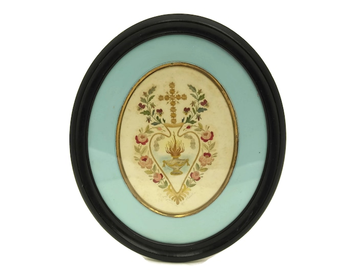 Antique Sacred Heart with Flames and Roses. French Embroidery in Black Oval Frame. Victorian Religious Art. Catholic and Christian Gifts.