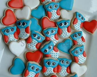Owl cookies - Fourth of July - Patriotic Owl cookies - 2, 3, or 4 dozen MINI decorated cookies