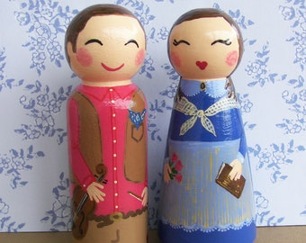 Hand Painted Love Boxes Custom Mormon Pioneer Peg Dolls Cake Topper Wood