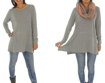 GV700 Women's Shirt tunic Gr. S-L grey knit patterned