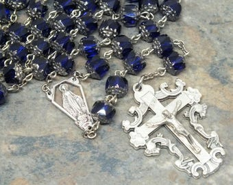 Cathedral Bead Czech Glass Rosary in Cobalt Blue, 5 Decade Rosary, Catholic Rosary, Marian Rosary, Our Lady of Grace