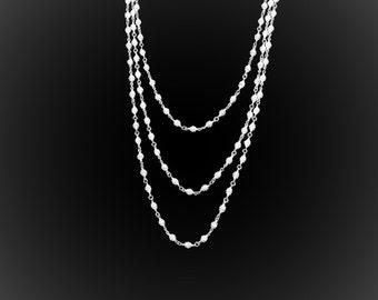 Chic Attitude embroidery silver triple chain necklace