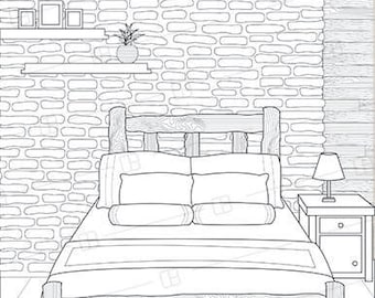 Adult Coloring Book Page Interior Design Lodge Bedroom