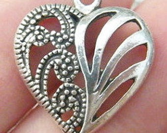 Antique silver tone heart charms