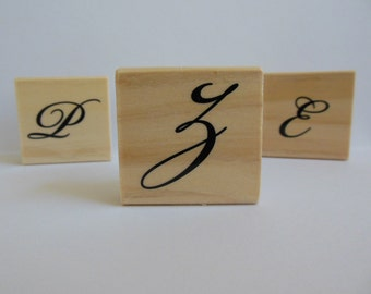Letter Z Stamp - Garden Canvas Collection - Wood Mounted Rubber Stamp - Alphabet Letter Z Stamp