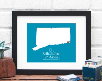 Connecticut State Map, Personalized Wedding Gift, Custom Bridal Shower, Connecticut Bride, Personalized Engagement Gift -  Art Print