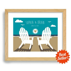 personalized beach chairs. Beach Chairs Wedding Gift - Art Print Personalized For Couples Ocean Theme Destination