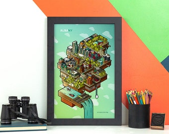 Albany NY Floating City Skyline Print • New York Poster • Empire State Plaza Art • SUNY Capital District • Hudson River • Graphic Design