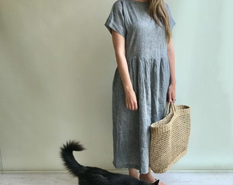 Ready to Ship: Size L Linen Maxi Dress Melange Grey Linen, Long linen dress, Linen Dress for women