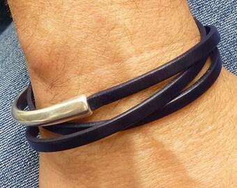 Navy Blue Leather Wrap Bracelet, Blue Bracelet for Men, Mens Leather Bracelet, Leather and Silver Bracelet, Leather Jewelry Fashion Bracelet