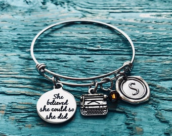 Typewriter Bracelet, typewriter charm, author Bracelet, gift for writer, She believed she ,could so she did, Silver Bracelet, Charm Bracelet