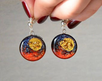 Round, colored, pin, red and yellow blue earrings, with gold leaf, and convex effect resin, OOAK, abstract, gift idea, summer