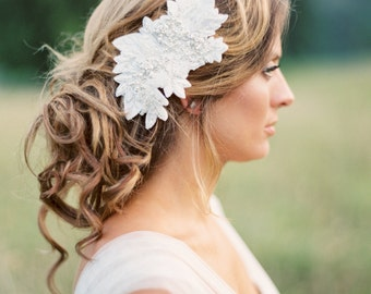 Bridal Beaded Headpiece. Wedding Crystal and Lace Hair Piece.