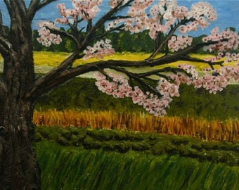 Large Mixed Media Landscape painting-Cherry Blossom