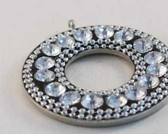 Large Silver Plated Clear Rhinestones Donut Pendant, Wholesale