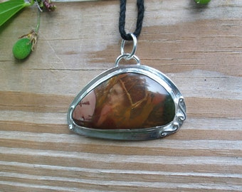 Picture Jasper Pendant Gemstone Jewelry Sterling Silver