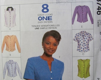 McCalls 8746, Misses Tops Pattern Sizes 8,10, 12,  Top, Long or Short Sleeve, Princess Seam, Front Flap, Keyhole Neck, Sewing Pattern