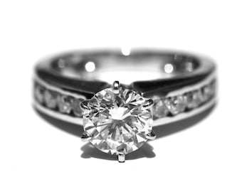 CERTIFIED 2.31cttw - with 1.51 F/Si Round  center -  Diamond Engagement Ring 14K white gold - READY to Ship - Bp021