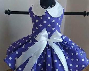 Dog Dress  Purple with White Polkadots