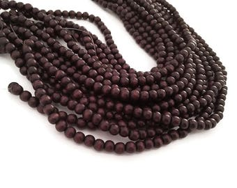 Chocolate brown 6mm or 10mm wood round beads 16 inch strand