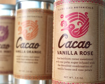 0401 Cacao Vanilla Rose, hot drinking chocolate made with 100% organic, fair trade ingredients