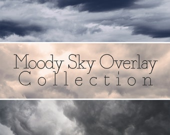 Moody Sky Overlay Collection, Five Lightroom Overlays, Photoshop Overlay, Dark Clouds, Stormy Sky, Somber Atmosphere