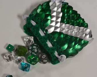 Scalemail Dice Bag in  Dragonhide knitted Armor Forest Archer