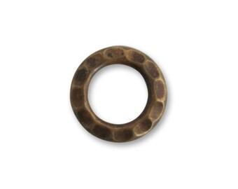 En laiton Vintaj martelé Jump Ring, anneau en laiton, composant boucle d'oreille en laiton
