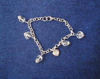 SWAROVSKI CRYSTAL and SILVER heart charm bracelet