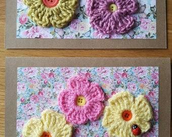 Crochet flower card~ flower card ~ crochet card ~ blank flower card