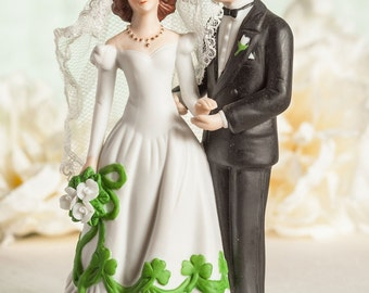 Irish Bride and Groom Shamrock Accent Wedding Cake Topper Figurine - Custom Painted Hair Color Available - 707584