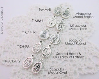 Tiny Miraculous Scapular Medals - Dainty Small Catholic Saint Sacred Heart Our Lady of Mount Carmel Mary - Oxidized Silver