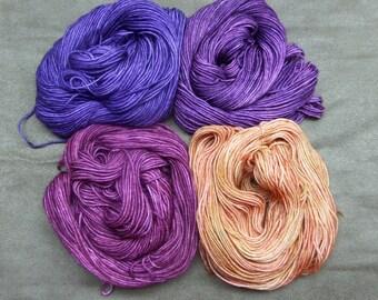 Hand Dyed Yarn: Extra Fine 19 Micron Superwash Merino Yarn, Violet, Merino Wool, Knitting Yarn, Crochet Yarn, Purple, Violet, Cinnamon