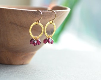 Garnet Dangle Earrings, Open Circle with Tiny Gemstones, Garnet & Gold Vermeil, Hammered Gold Circle Hoops January Birthstone Sundance Style